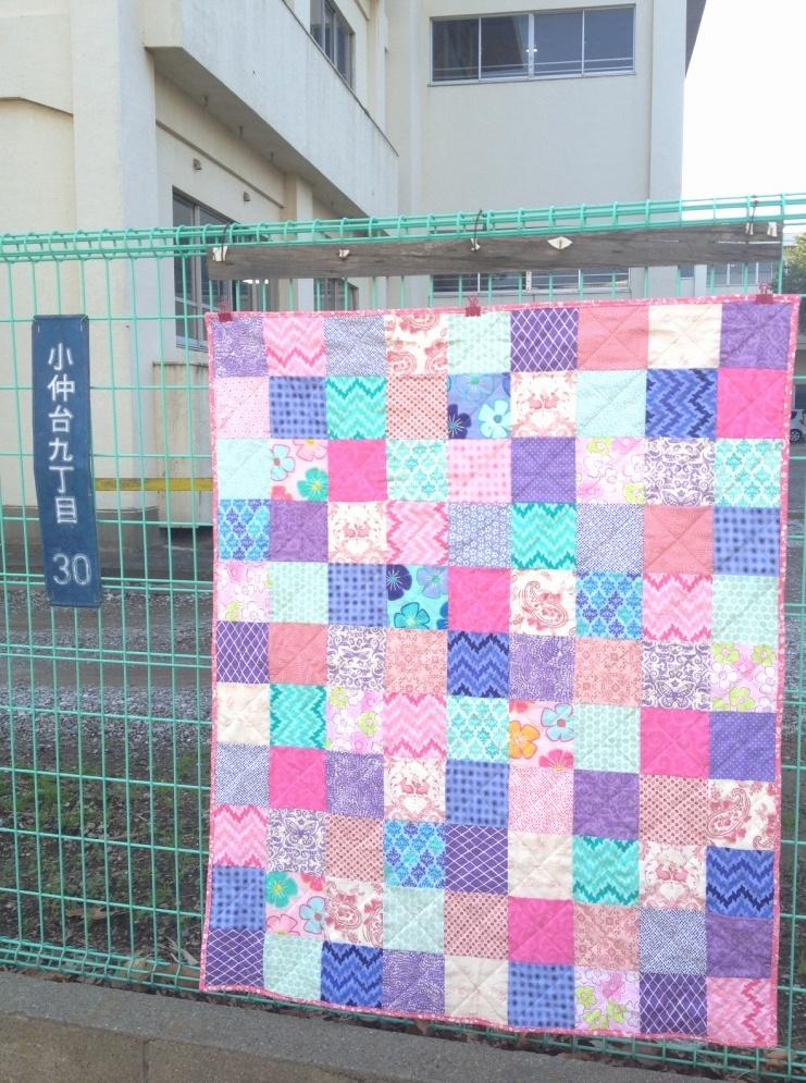 Purple pink mint patchwork quilt