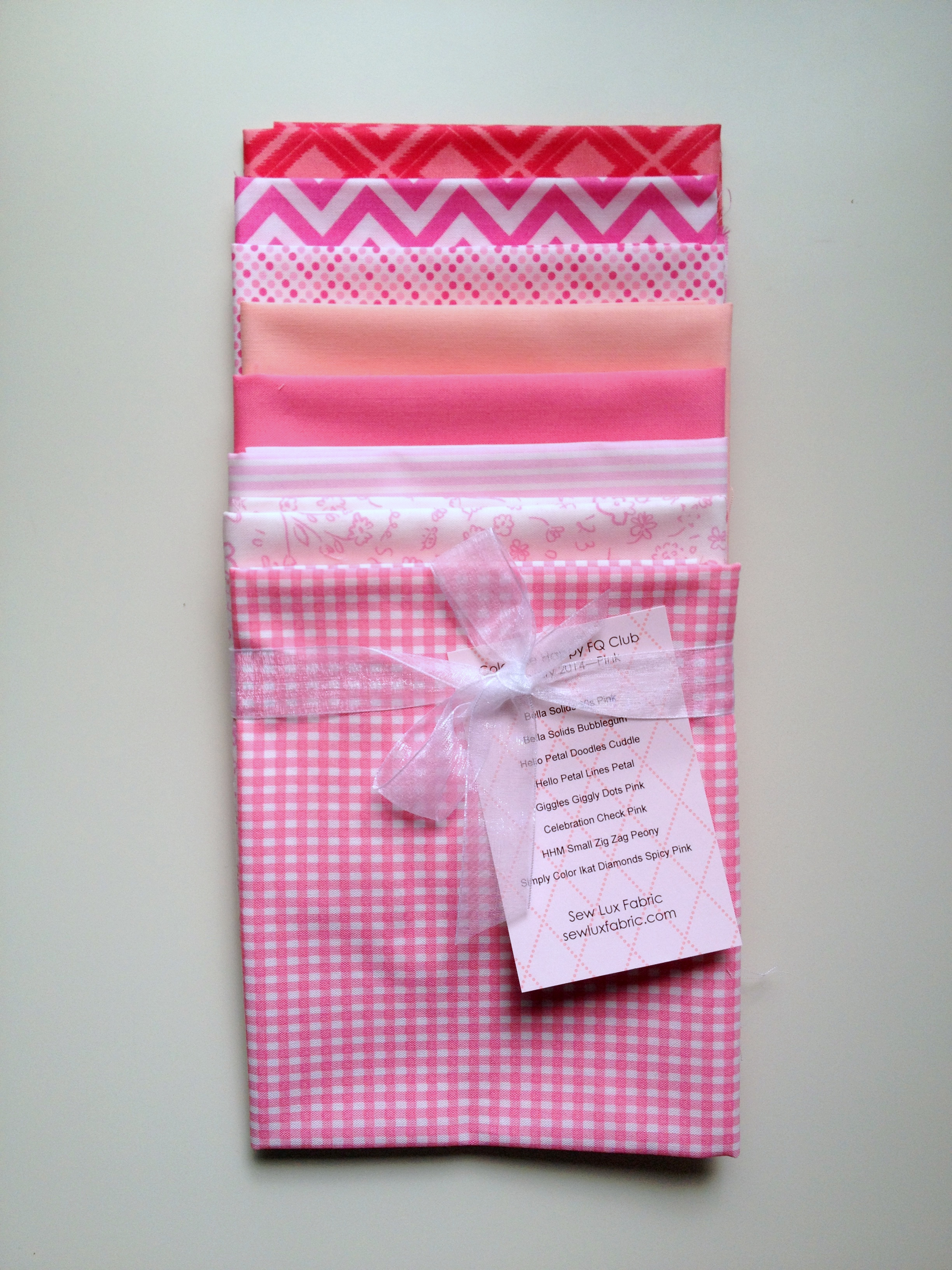 Pink fabric bundle