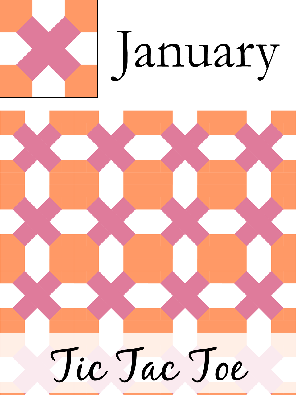 The Bee Hive January Tic Tac Toe quilt block