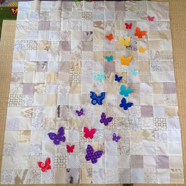 Rainbow low volume butterfly quilt