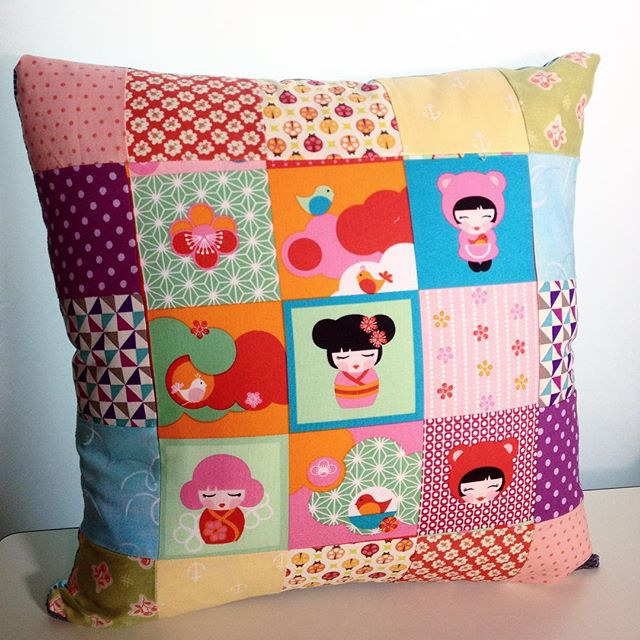 Japanese dolls rainbow cushion