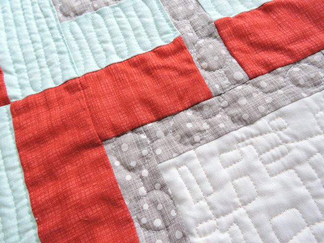 Pearl Gray free motion quilting