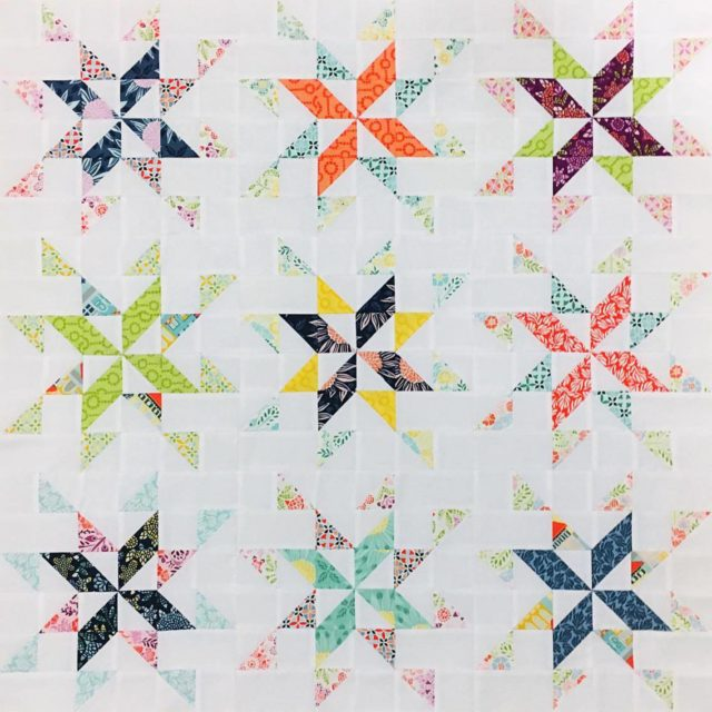 Starlight pattern tester Erin 12in block quilt