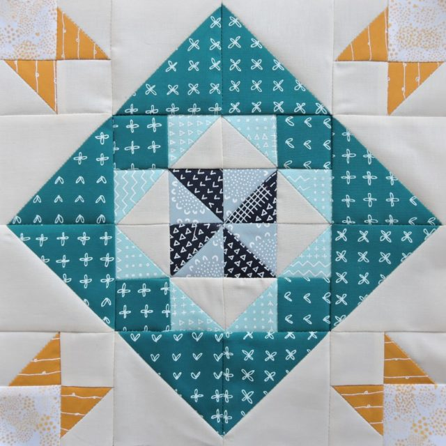 Modern HST Sampler Diamond Twirl quilt block tutorial at BlossomHeartQuilts.com