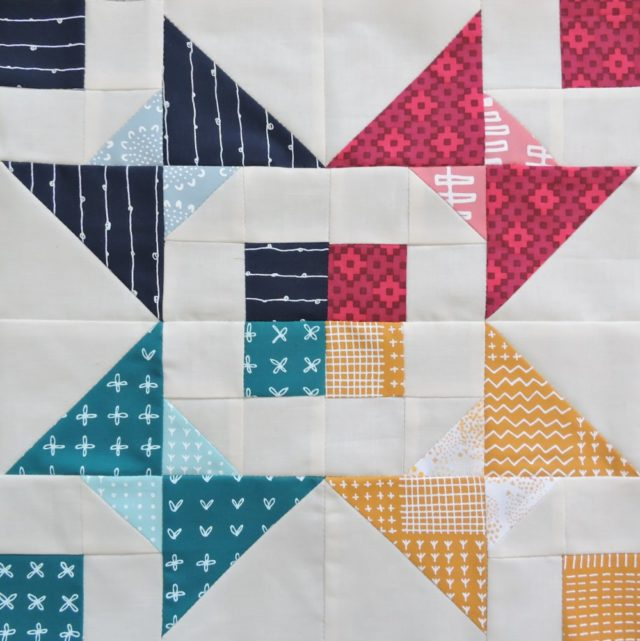 Modern HST Sampler Bejewelled quilt block tutorial on BlossomHeartQuilts.com