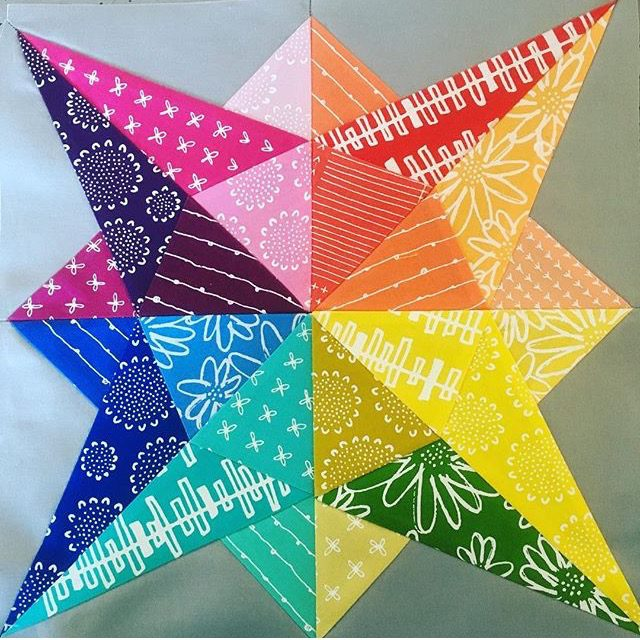 Foundation paper pieced rainbow star quilt block from Milky Way Sampler by BlossomHeartQuilts.com