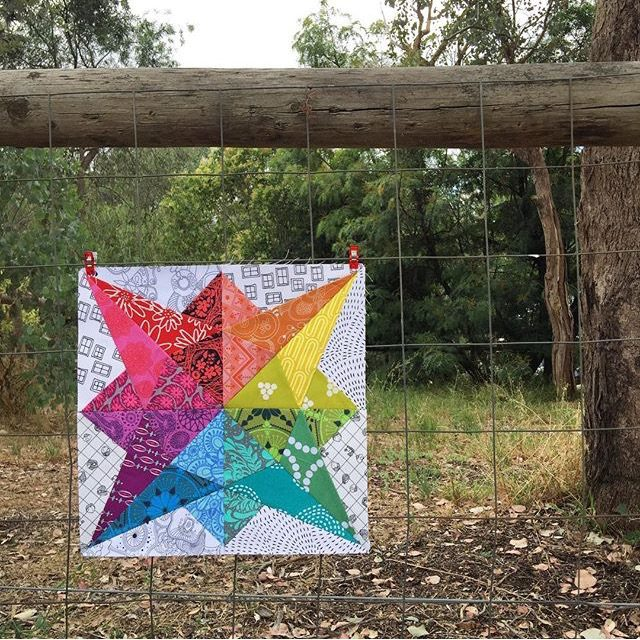 Rainbow quilt block foundation paper pieced from Milky Way Sampler by BlossomHeartQuilts.com