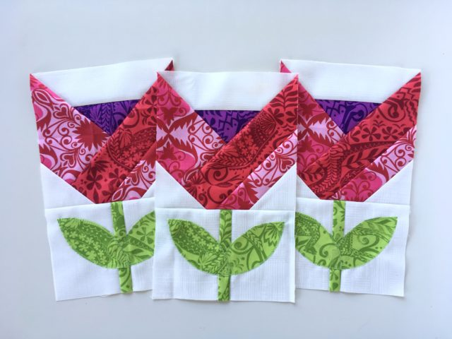 Dutch Tulips quilt blocks made by BlossomHeartQuilts.com
