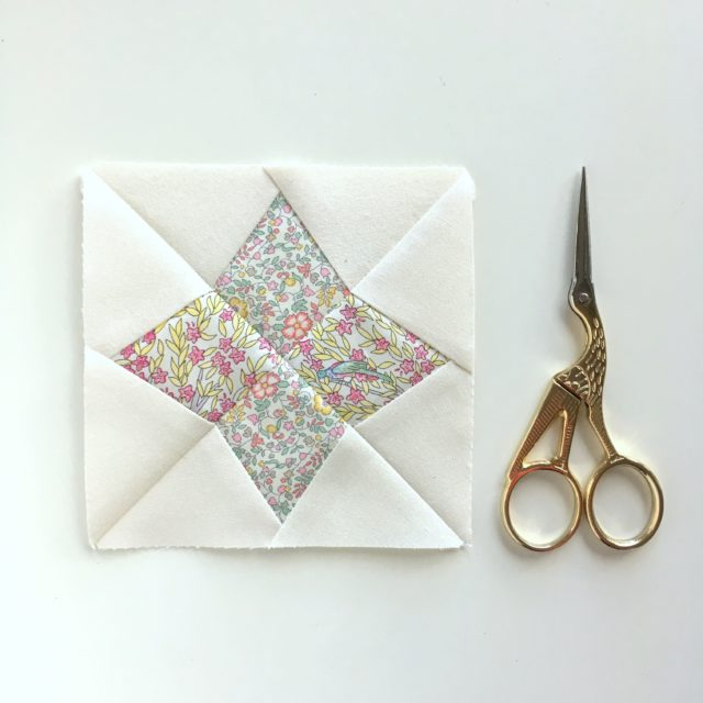 A mini Arcturus block from the Milky Way Sampler at BlossomHeartQuilts.com