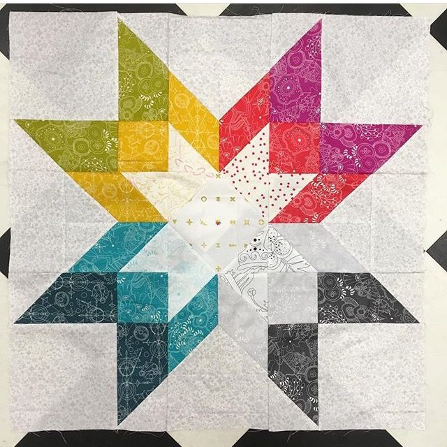 Alison Glass rainbow quilt block from Aurora by BlossomHeartQuilts.com