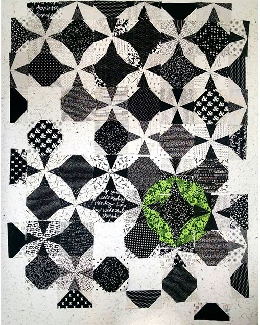 Black and white and green quilt using the Wanta Fanta block pattern available on BlossomHeartQuilts.com