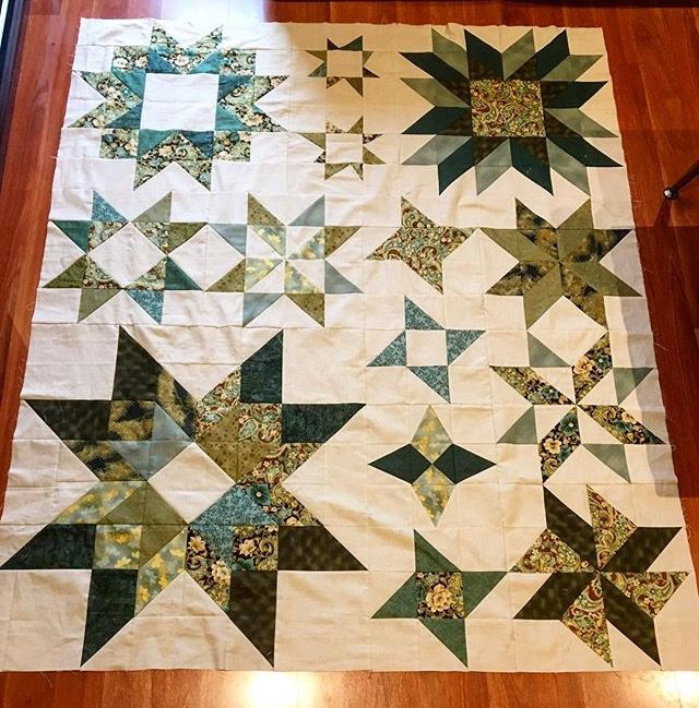 Green Aurora sampler quilt from Aurora by BlossomHeartQuilts.com
