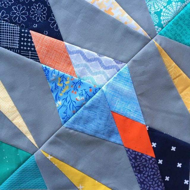 Hidden Gems paper pieced quilt block using the free pattern at BlossomHeartQuilts.com