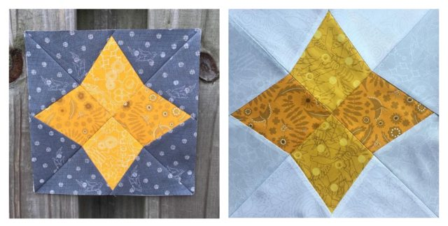 Mustard quilt blocks using the Arcturus quilt block from the Milky Way Sampler foundation paper piecing patterns from BlossomHeartQuilts.com