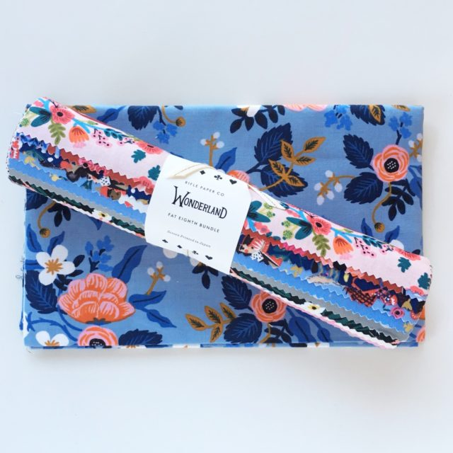Wonderland fat eighths and Les Fleurs fabric by Rifle Paper Co for Cotton and Steel