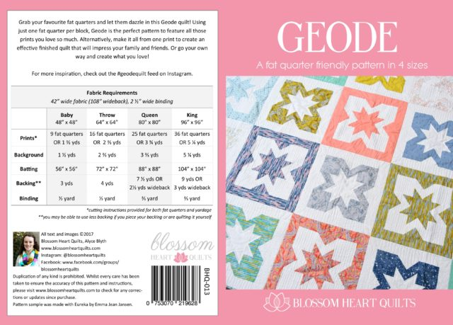 Geode quilt pattern by Blossom Heart Quilts