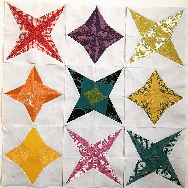 These foundation paper pieced star quilt blocks are amazing! The Milky Way Sampler patterns are at BlossomHeartQuilts.com