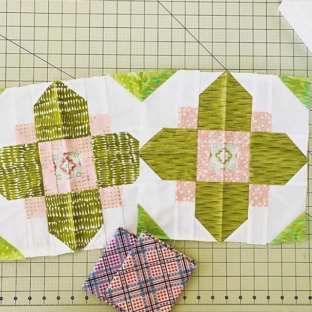 Pink and green Quatrefoil quilt blocks made from the tutorial on BlossomHeartQuilts.com