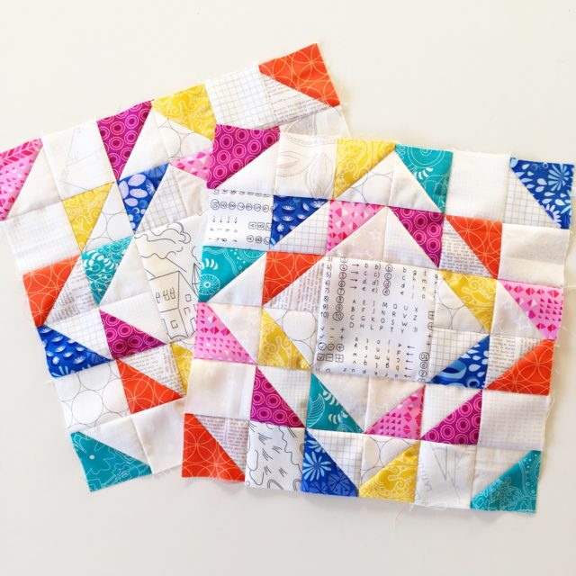 Ripples quilt blocks made from the free tutorial on BlossomHeartQuilts.com