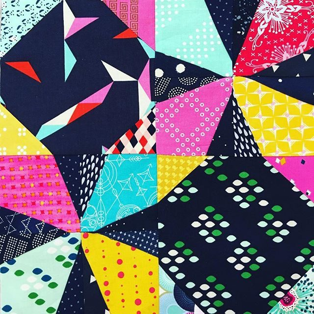 Wanta Fanta foundation paper pieced block made for a quilting bee. Free pattern is available at BlossomHeartQuilts.com