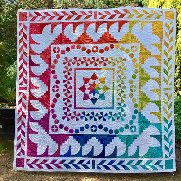 Alison Glass rainbow Girt By Sea quilt by Jackie Gillies