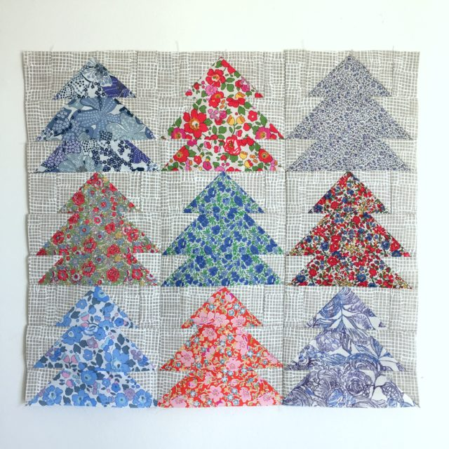 Christmas Tree Farm cushion in Liberty and Maker Maker by BlossomHeartQuilts.com
