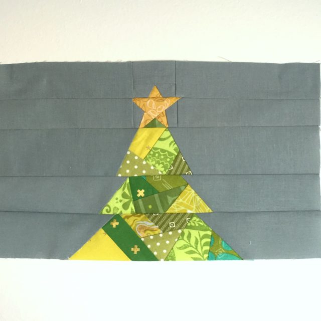 Geometric Christmas Tree quilt block progress by BlossomHeartQuilts.com
