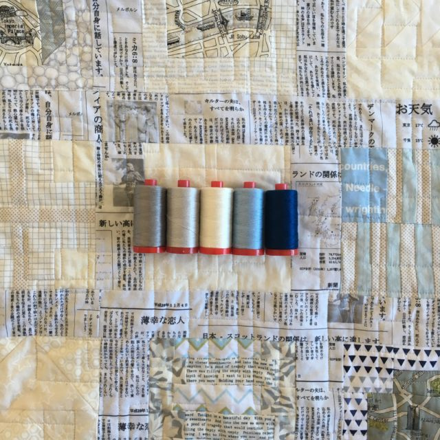 Aurifil 12w for hand quilting a sampler quilt