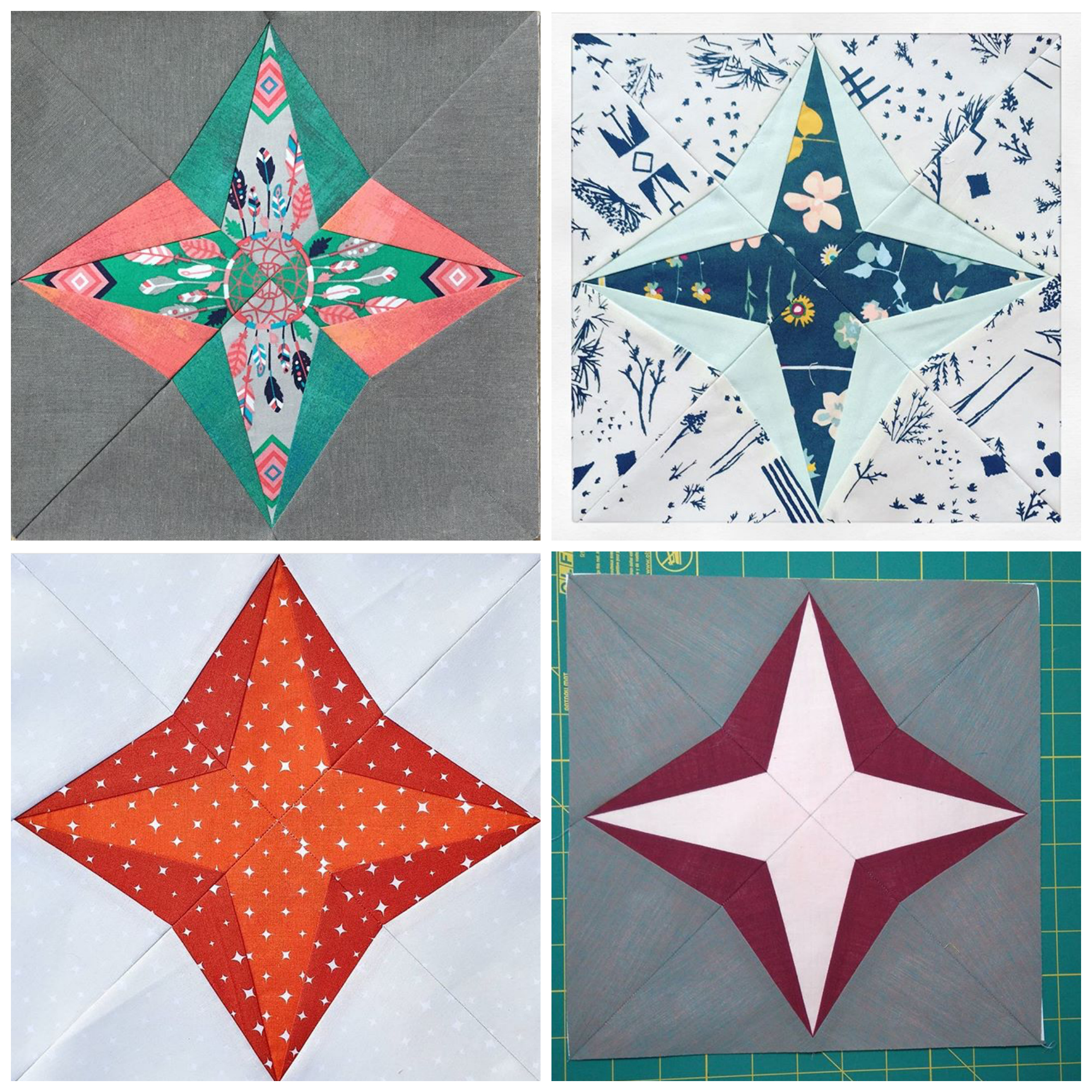 Capella Quilt Blocks From The Milky Way Sampler Pattern By BlossomHeartQuilts