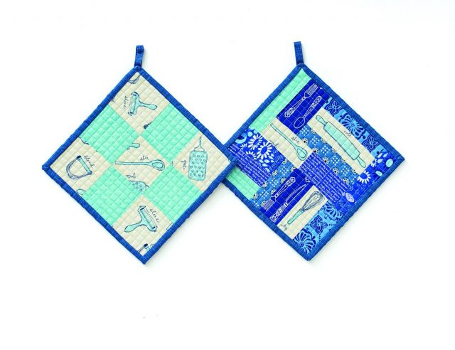 Nine Patch pot holders from Fussy Cutters Club