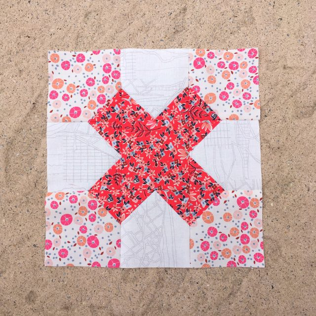 Go Pink Tic Tac Toe quilt block with AccuQuilt Australia by BlossomHeartQuilts.com