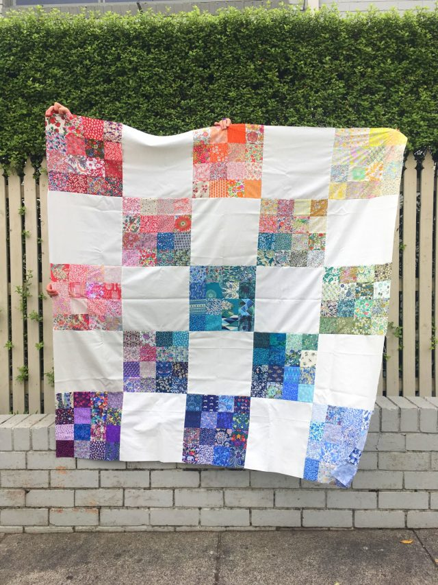 Rainbow Liberty quilt by BlossomHeartQuilts.com