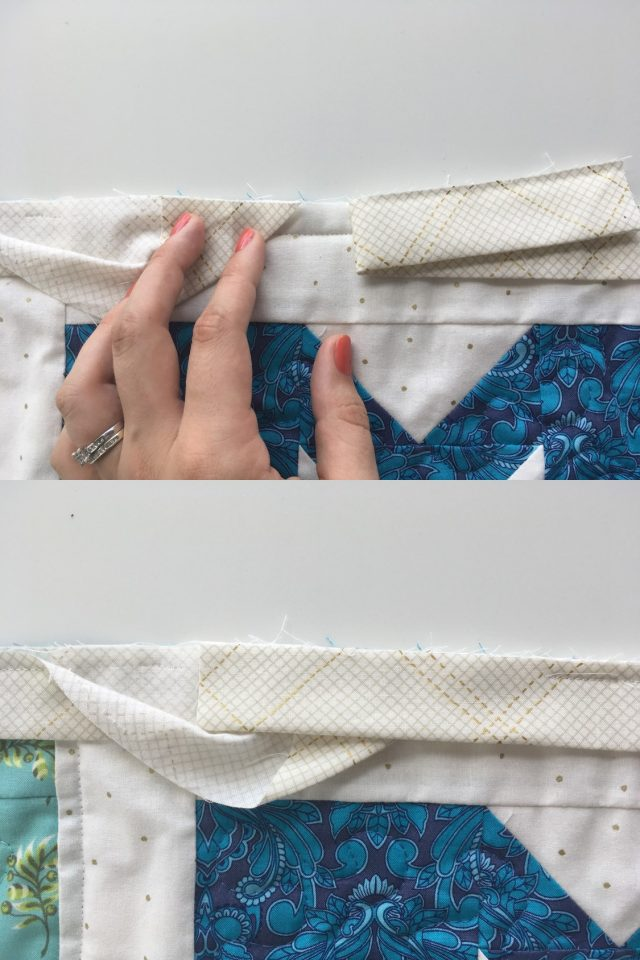 How to easily join binding tails on a quilt - tutorial by BlossomHeartQuilts.com