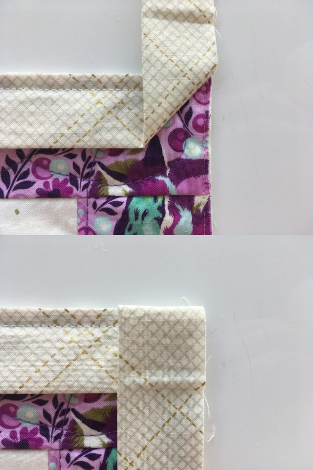 How to mitre quilt binding corners - a machine binding tutorial by BlossomHeartQuilts.com