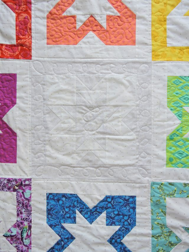 Monogram free motion quilting by BlossomHeartQuilts.com