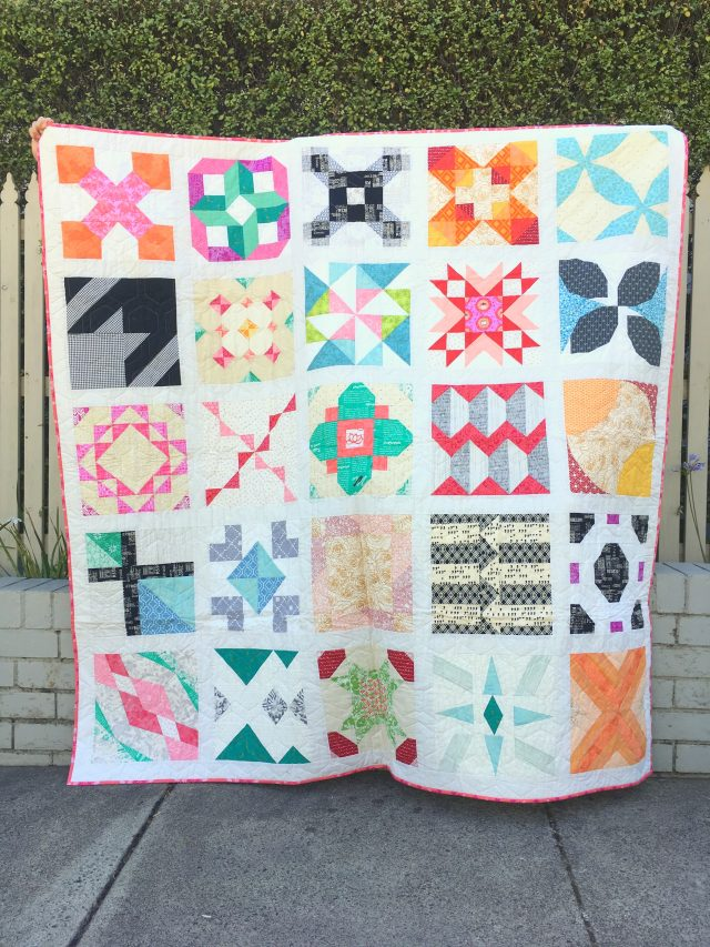 A 12'' block sampler quilt using The Bee Hive quilt block tutorials by Blossom Heart Quilts
