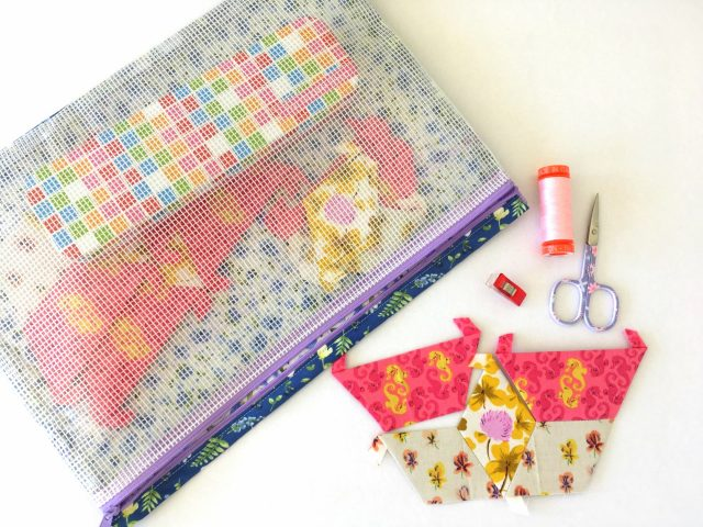 Aneela Hoey's See It All Pouch by BlossomHeartQuilts.com in June's Cottage fabric by Briar Hill Designs