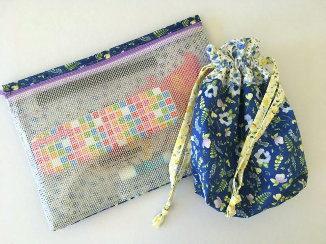 Handmade see-through pouch and lined drawstring