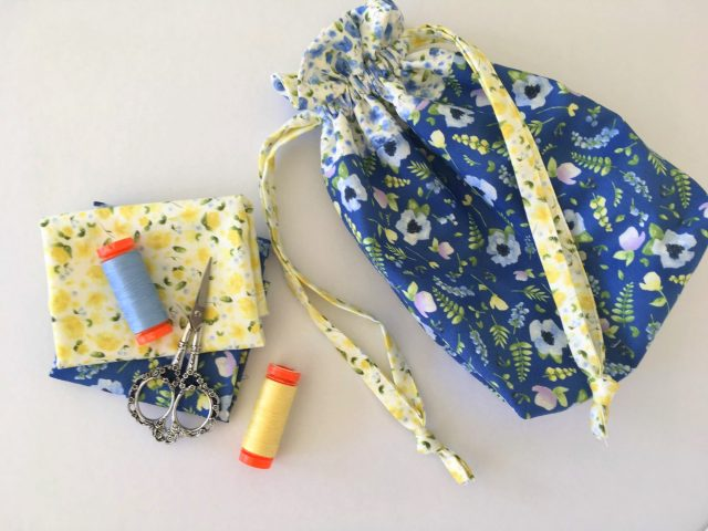 Lined drawstring bag in June's Cottage by Briar Hill Designs