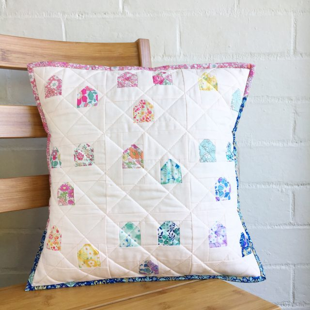 Rainbow Liberty cushion using the Gumdrops pattern in Love Patchwork Quilting by BlossomHeartQuilts.com