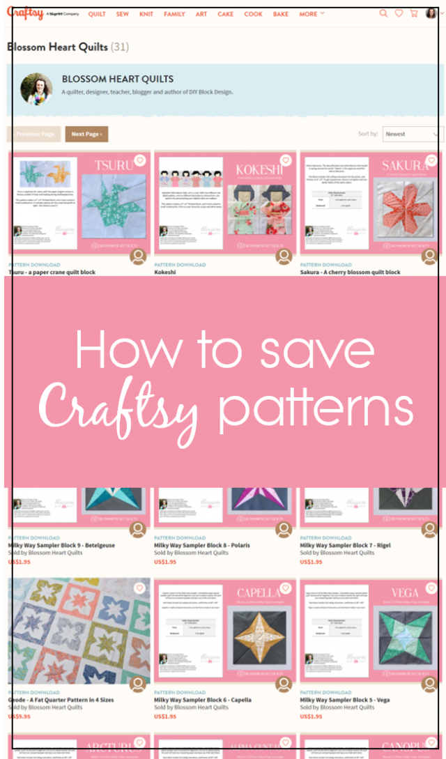 How to save Craftsy patterns