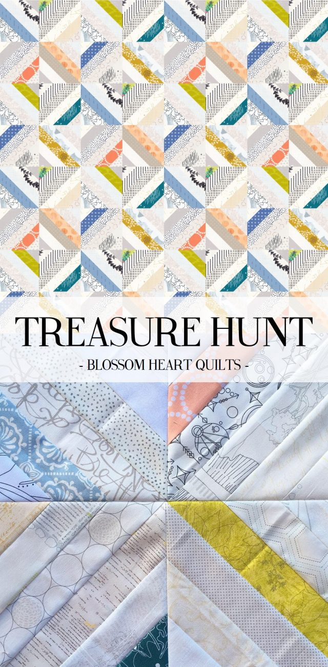 Low volume Treasure Hunt quilt pattern by BlossomHeartQuilts.com and EQ8