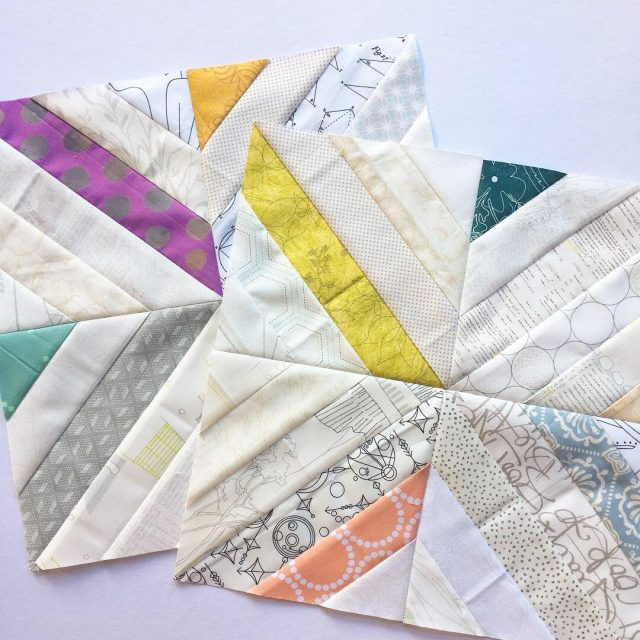 Low volume dusty coloured Treasure Hunt quilt blocks using the free tutorial by BlossomHeartQuilts.com